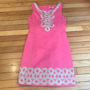 EUC FABULOUS PINK QUILTED DRESS W/GOLD EMBROIDERY